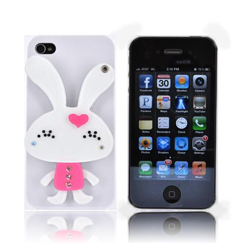 AT&T/ Verizon Apple iPhone 4, iPhone 4S Hard Case w/ Bling & Rotating Mirror - White/ Pink Rabbit