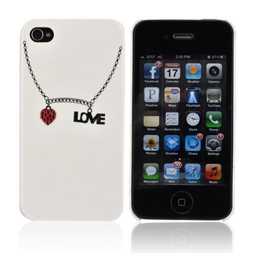 Premium AT&T/ Verizon Apple iPhone 4, iPhone 4S Hard Case w/ Bling - White/ Silver/ Red Love Necklace