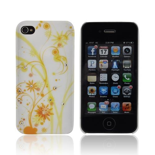 Premium AT&T/ Verizon Apple iPhone 4, iPhone 4S Rubberized Hard Case w/ Bling - Yellow Dandelions on White w/ Clear Gems