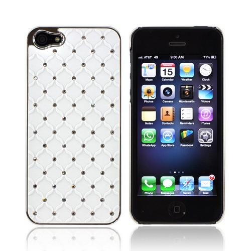 Apple iPhone 5/5S Hard Case w/ Bling & Faux Chrome - Silver Gems on White
