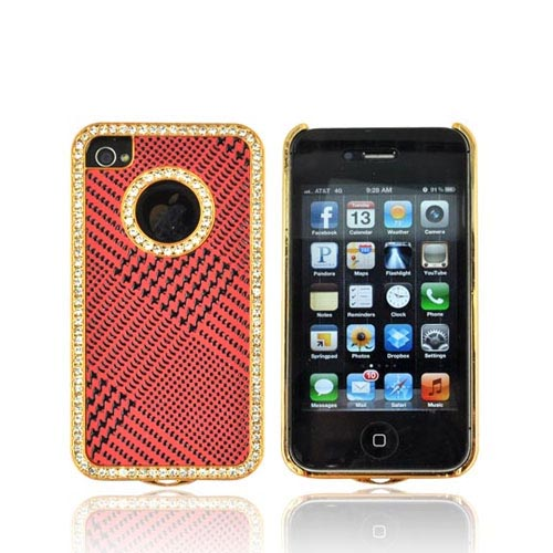 AT&T/ Verizon Apple iPhone 4, iPhone 4S Hard Case w/ Bling - Black Houndstooth on Red