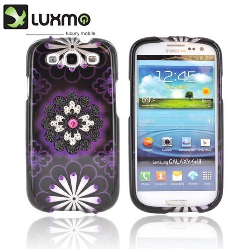 Samsung Galaxy S3 Hard Case w/ Bling - Black/ Purple/ Silver Hawaiian Flowers