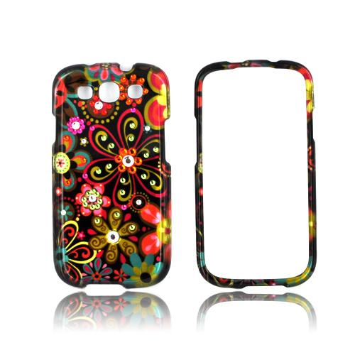 Samsung Galaxy S3 Hard Case w/ Bling - Pink/ Orange Retro Flowers on Black