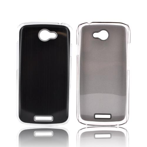 HTC One S Hard Back Clear Case w/ Aluminum - Black