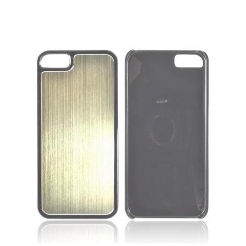 Apple iPhone 5/5S Hard Back Cover w/ Aluminum Back - Gold/ Black