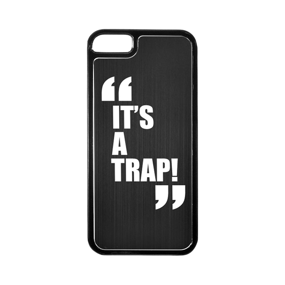Apple iPhone 5/5S Hard Back Cover w/ Black Aluminum Back - It's a Trap!