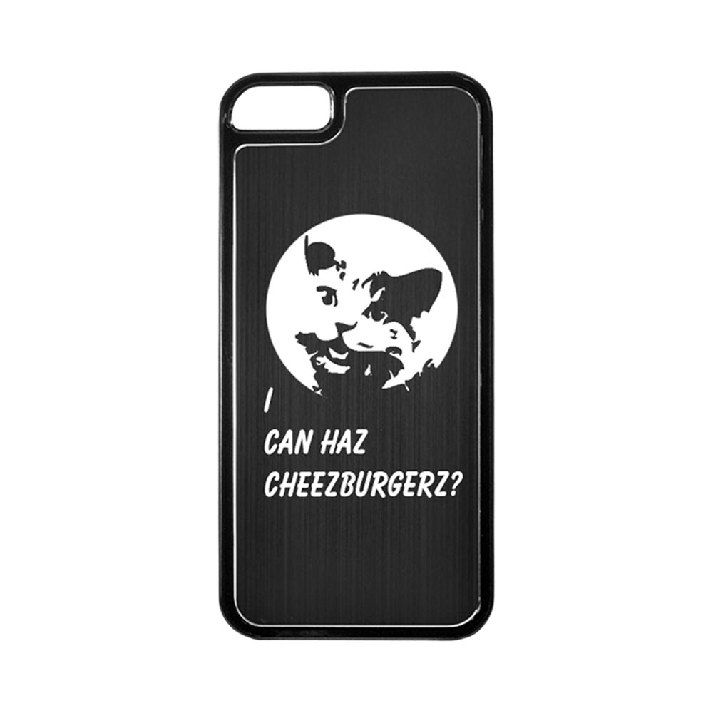 Apple iPhone 5/5S Hard Back Cover w/ Black Aluminum Back - I Can Haz Cheezburgerz?