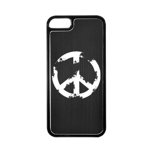 Apple iPhone 5/5S Hard Back Cover w/ Black Aluminum Back - Grunge Peace Sign