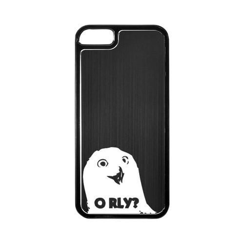 Apple iPhone 5/5S Hard Back Cover w/ Black Aluminum Back - O RLY?