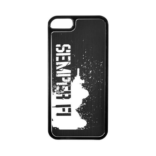 Apple iPhone 5/5S Hard Back Cover w/ Black Aluminum Back - Marine