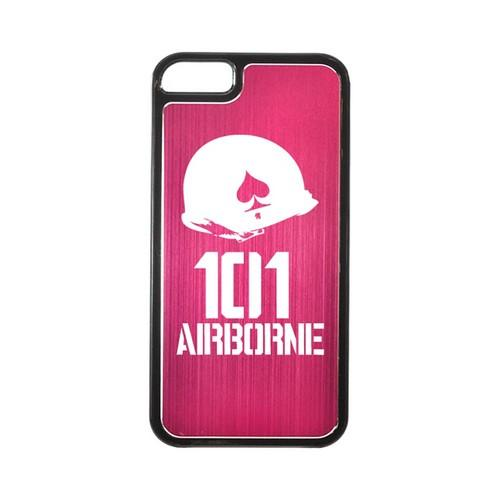 Apple iPhone 5/5S Hard Back Cover w/ Hot Pink Aluminum Back - 101st Airborne
