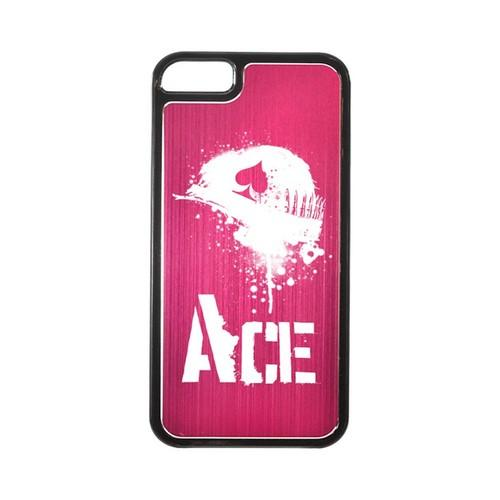 Apple iPhone 5/5S Hard Back Cover w/ Hot Pink Aluminum Back - Ace Helmet