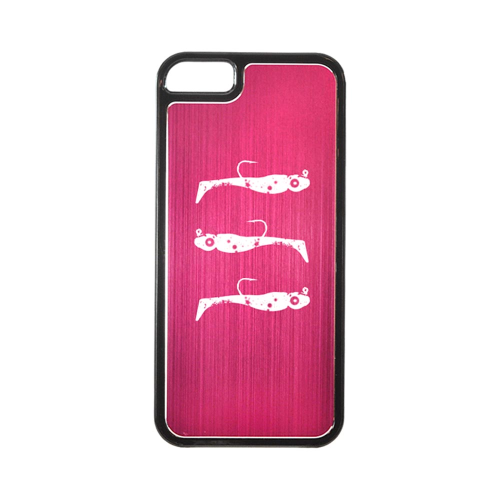 Apple iPhone 5/5S Hard Back Cover w/ Hot Pink Aluminum Back - Fish Bait