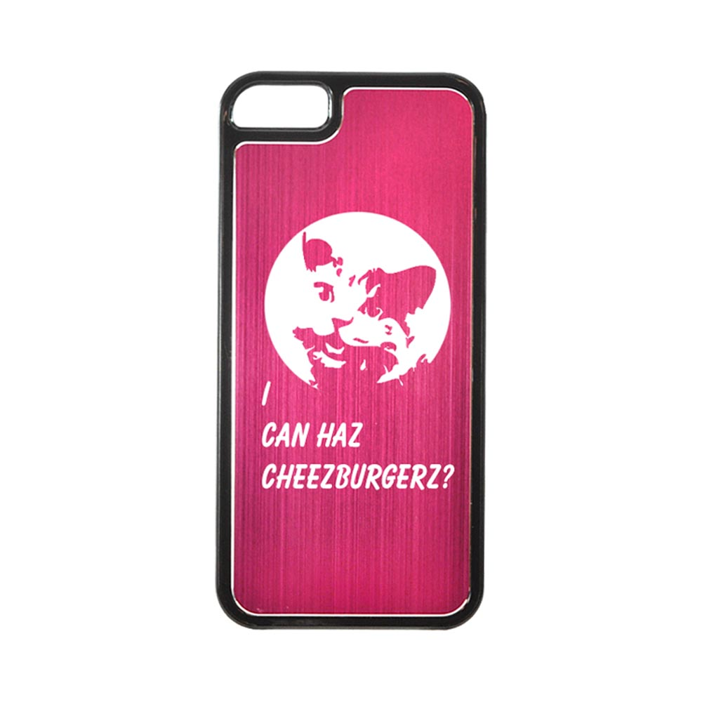 Apple iPhone 5/5S Hard Back Cover w/ Hot Pink Aluminum Back - I Can Haz Cheezburgerz?