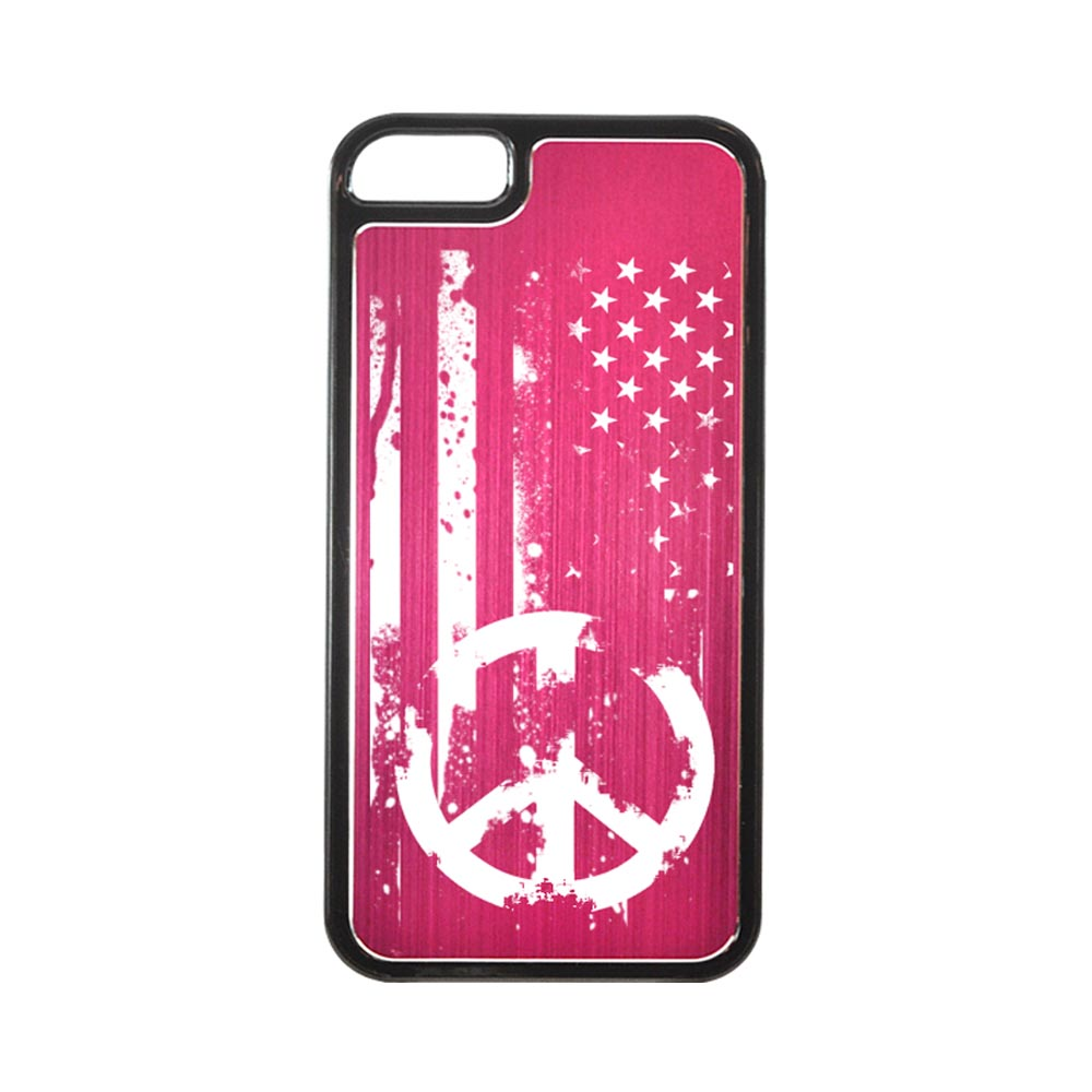 Apple iPhone 5/5S Hard Back Cover w/ Hot Pink Aluminum Back - Grunge Flag