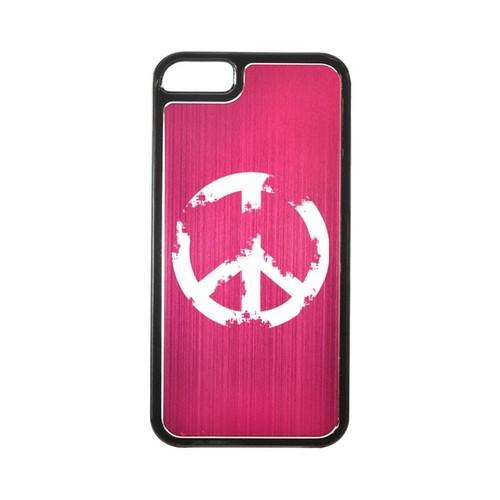Apple iPhone 5/5S Hard Back Cover w/ Hot Pink Aluminum Back - Grunge Peace Sign