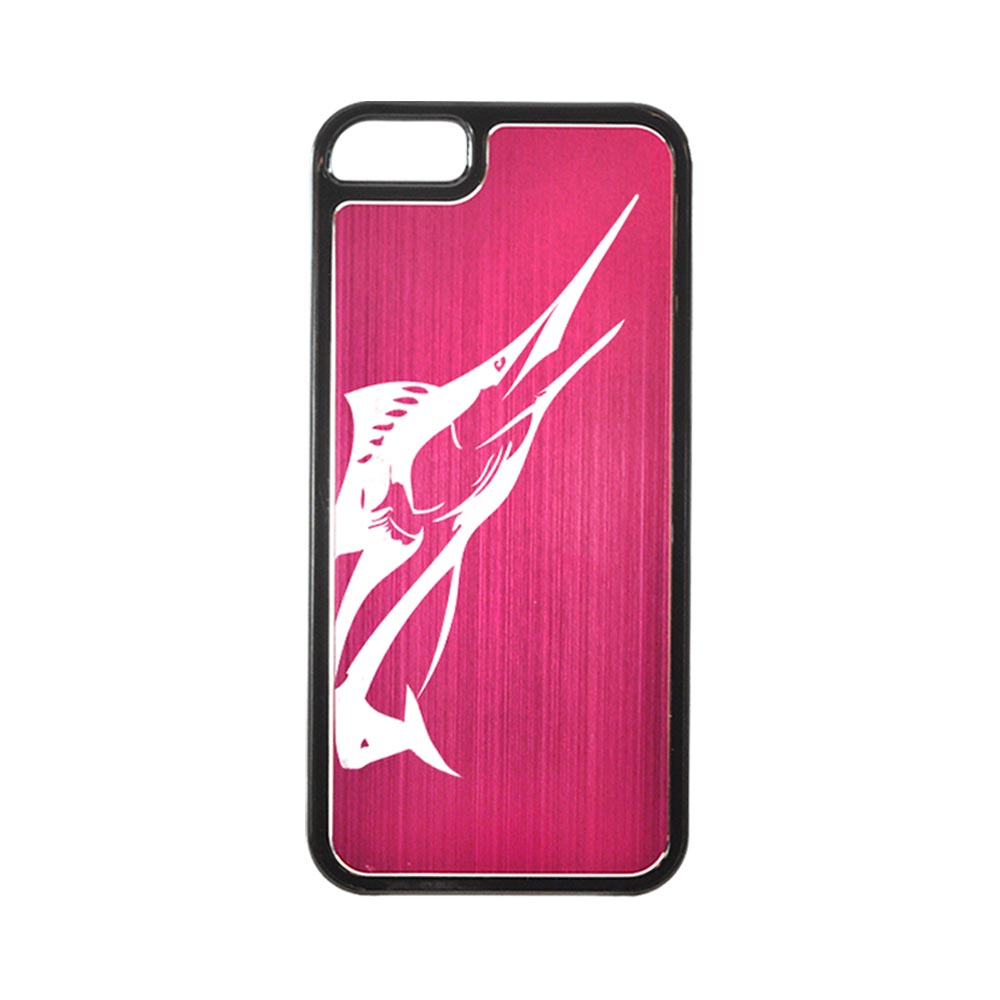 Apple iPhone 5/5S Hard Back Cover w/ Hot Pink Aluminum Back - Marlin