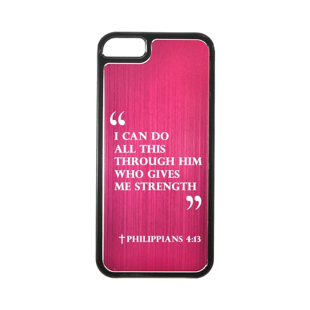 Apple iPhone 5/5S Hard Back Cover w/ Hot Pink Aluminum Back - Philippians 4:13