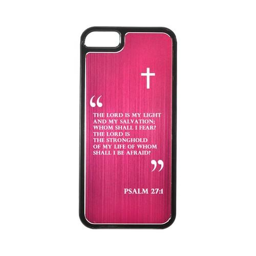 Apple iPhone 5/5S Hard Back Cover w/ Hot Pink Aluminum Back - Psalm 27:1