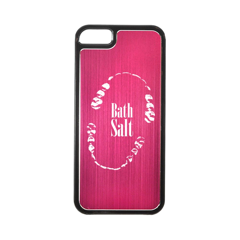 Apple iPhone 5/5S Hard Back Cover w/ Hot Pink Aluminum Back - Bath Salt Teeth