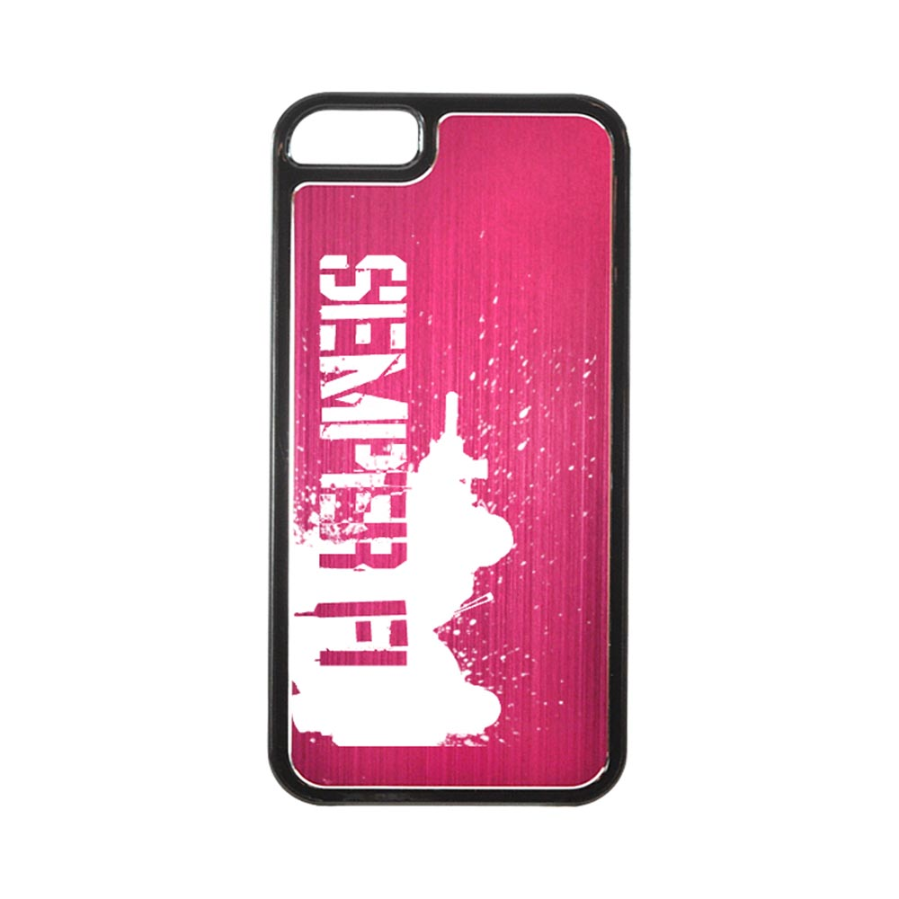 Apple iPhone 5/5S Hard Back Cover w/ Hot Pink Aluminum Back - Marine