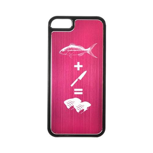 Apple iPhone 5/5S Hard Back Cover w/ Hot Pink Aluminum Back - Fish + Knife = Sushi