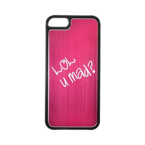 Apple iPhone 5/5S Hard Back Cover w/ Hot Pink Aluminum Back - LOL U MAD?
