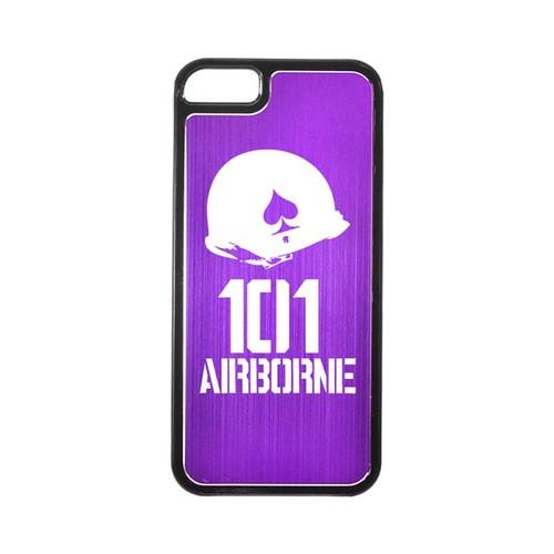 Apple iPhone 5/5S Hard Back Cover w/ Purple Aluminum Back - 101st Airborne