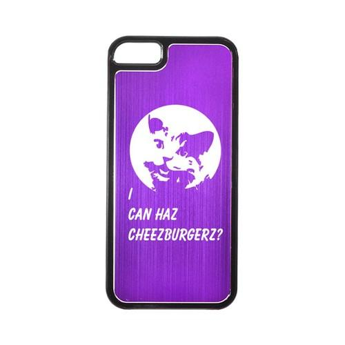 Apple iPhone 5/5S Hard Back Cover w/ Purple Aluminum Back - I Can Haz Cheezburgerz?