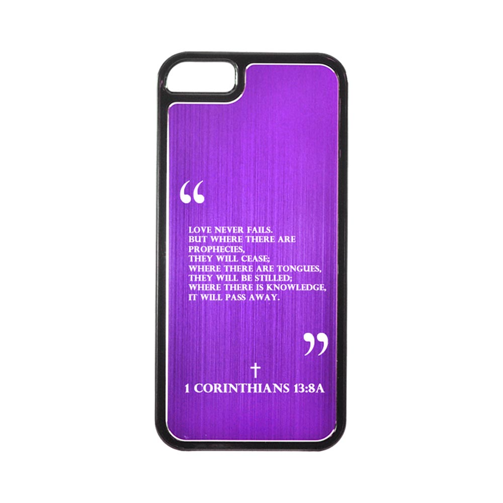 Apple iPhone 5/5S Hard Back Cover w/ Purple Aluminum Back - 1 Corinthians 13:8A