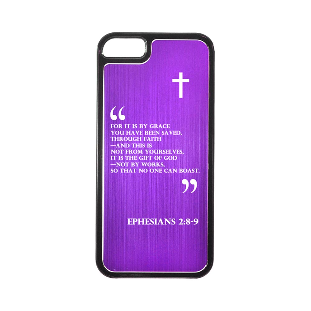 Apple iPhone 5/5S Hard Back Cover w/ Purple Aluminum Back - Ephesians 2:8-9