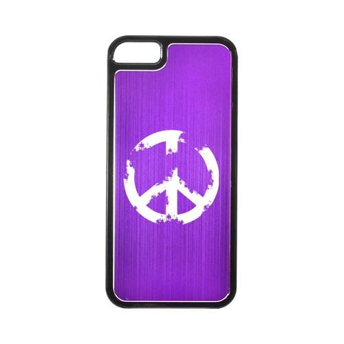 Apple iPhone 5/5S Hard Back Cover w/ Purple Aluminum Back - Grunge Peace Sign