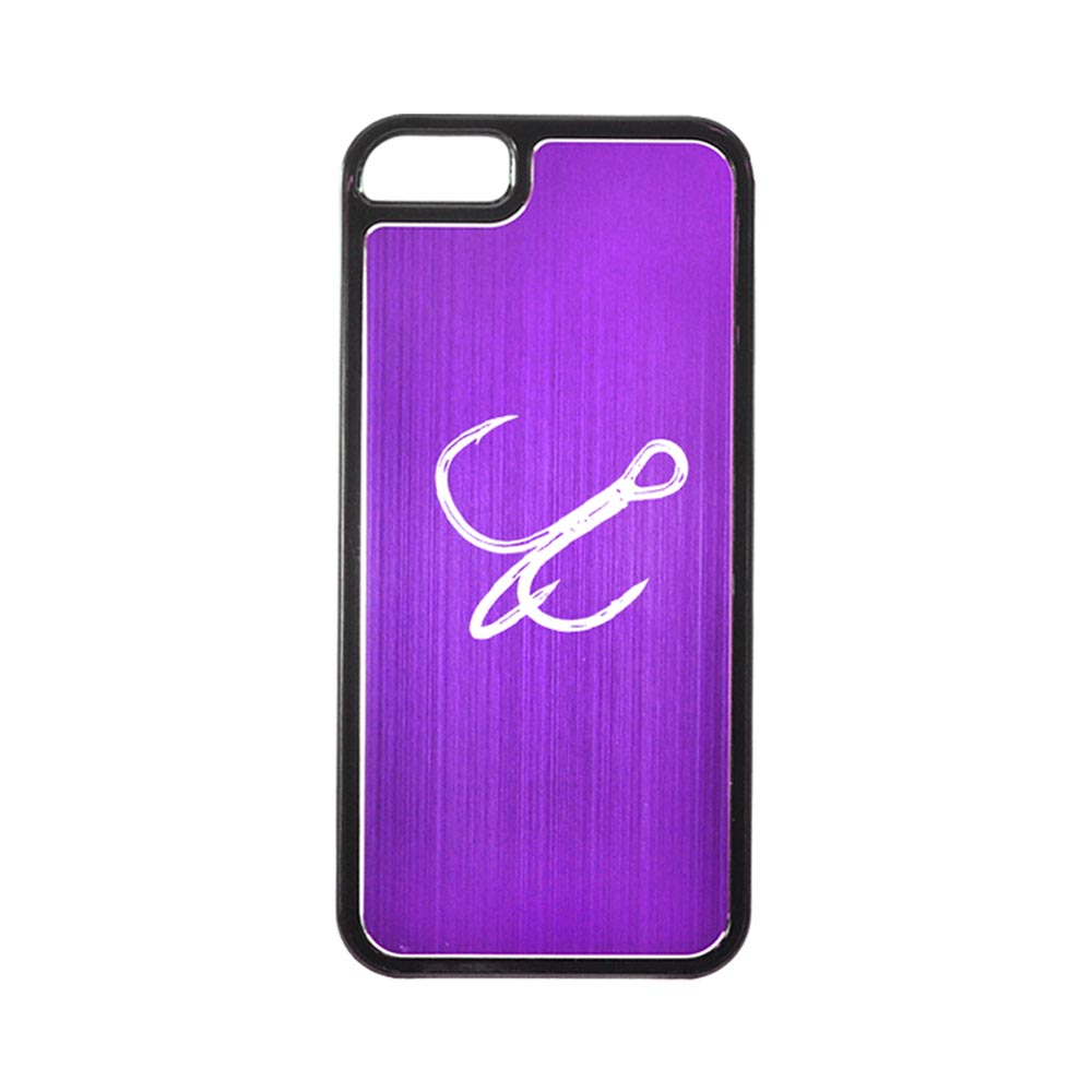 Apple iPhone 5/5S Hard Back Cover w/ Purple Aluminum Back - Fish Hook