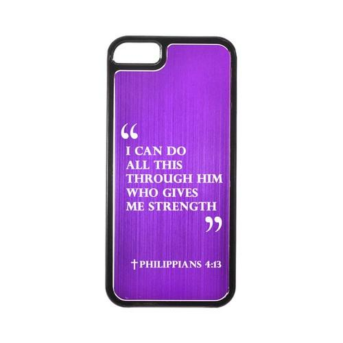 Apple iPhone 5/5S Hard Back Cover w/ Purple Aluminum Back - Philippians 4:13
