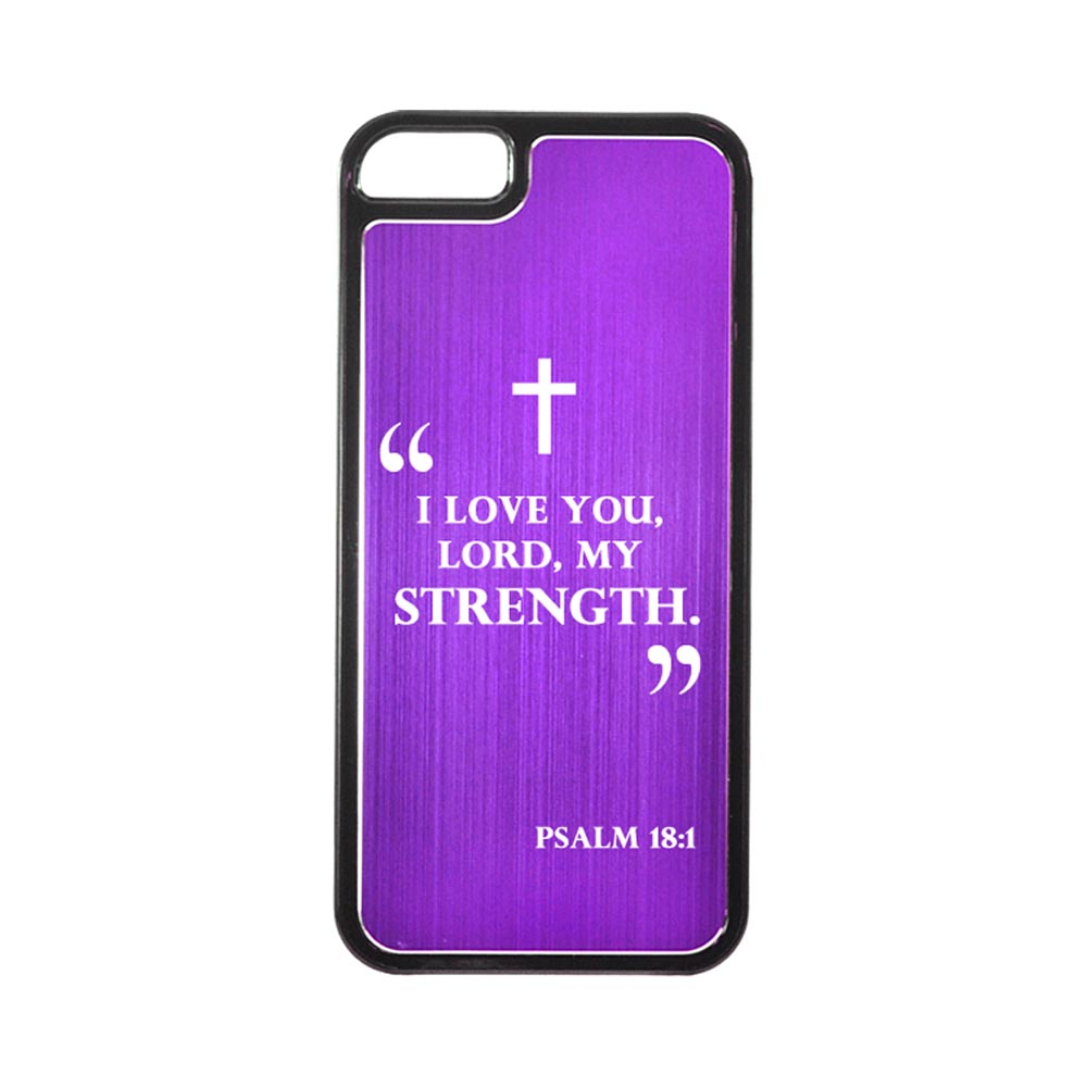 Apple iPhone 5/5S Hard Back Cover w/ Purple Aluminum Back - Psalm 18:1