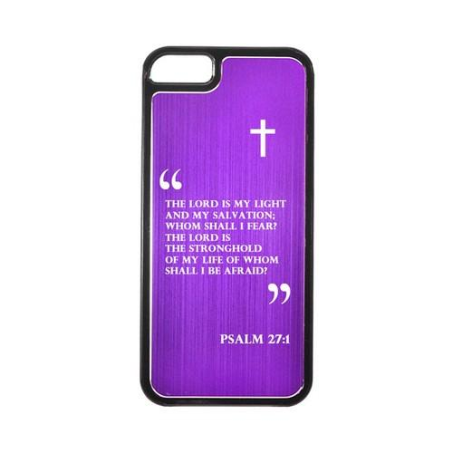 Apple iPhone 5/5S Hard Back Cover w/ Purple Aluminum Back - Psalm 27:1