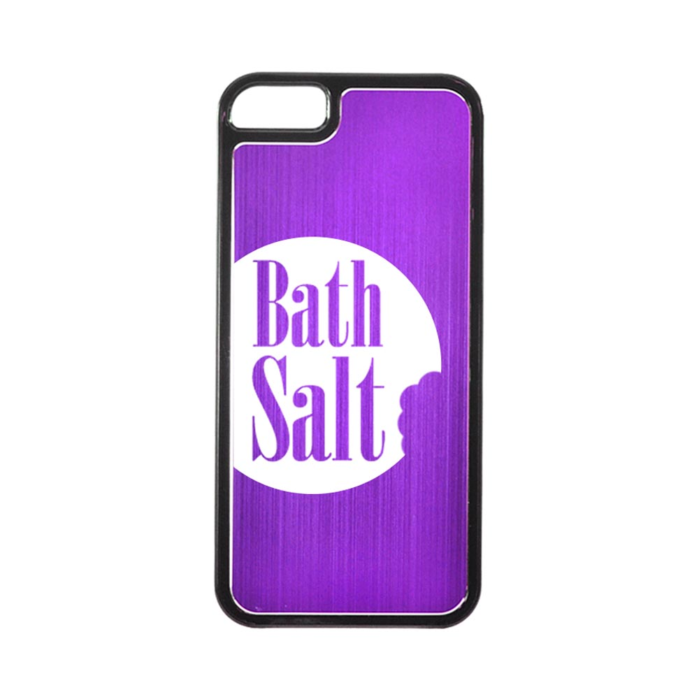 Apple iPhone 5/5S Hard Back Cover w/ Purple Aluminum Back - Bath Salt Bite