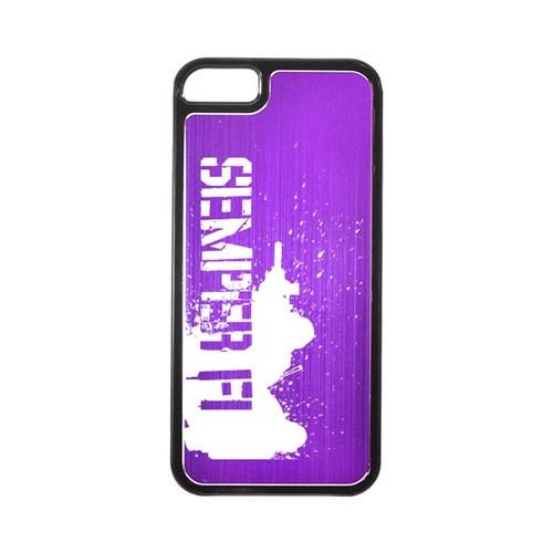 Apple iPhone 5/5S Hard Back Cover w/ Purple Aluminum Back - Marine