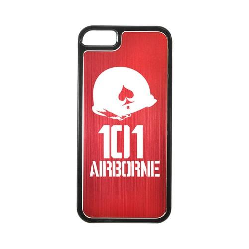 Apple iPhone 5/5S Hard Back Cover w/ Red Aluminum Back - 101st Airborne