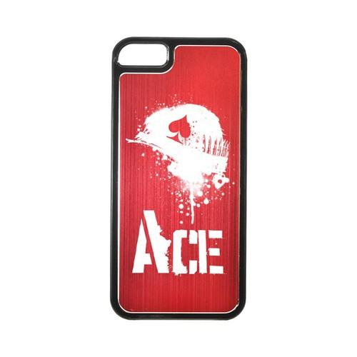 Apple iPhone 5/5S Hard Back Cover w/ Red Aluminum Back - Ace Helmet