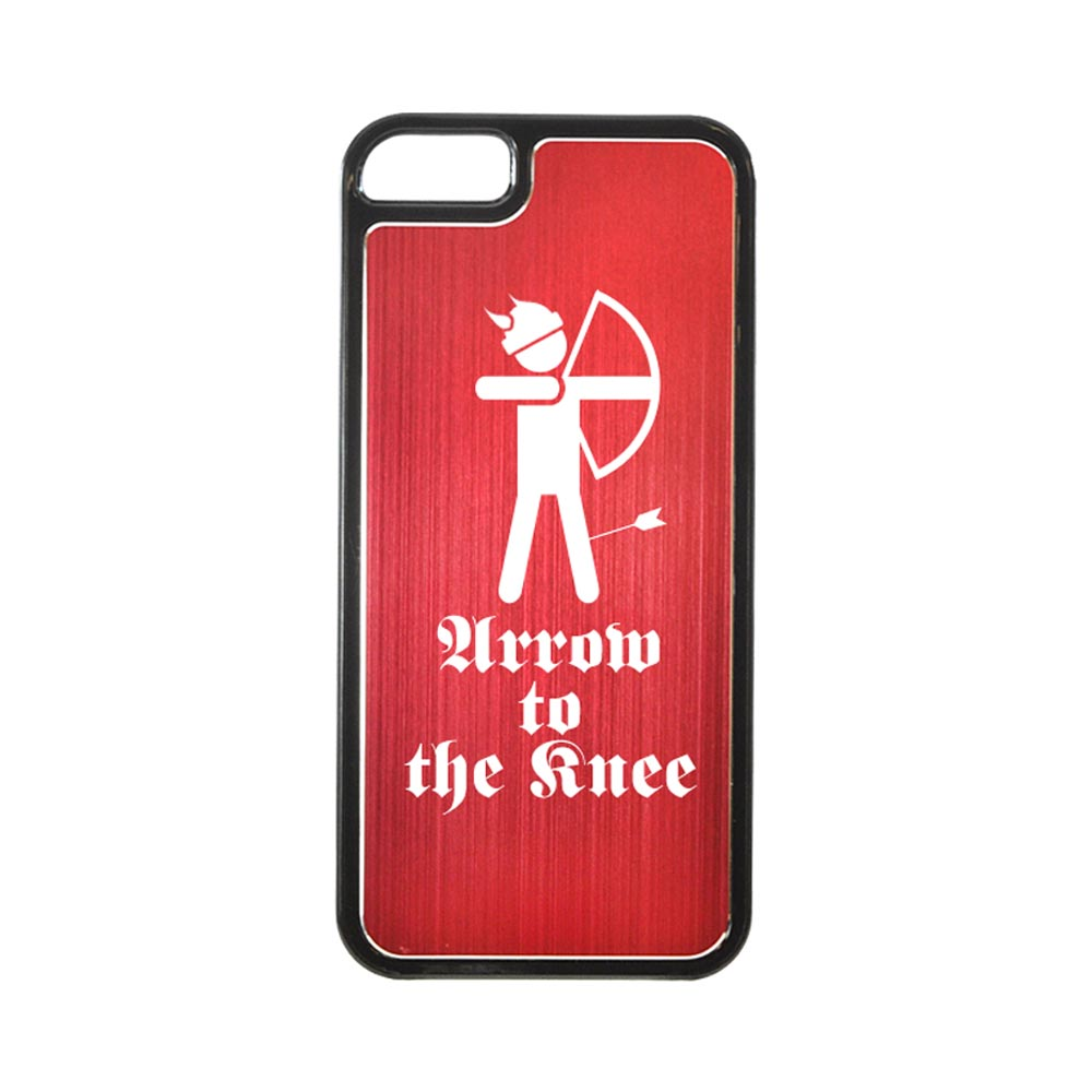 Apple iPhone 5/5S Hard Back Cover w/ Red Aluminum Back - Arrow to the Knee
