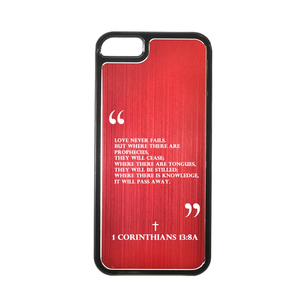 Apple iPhone 5/5S Hard Back Cover w/ Red Aluminum Back - 1 Corinthians 13:8A