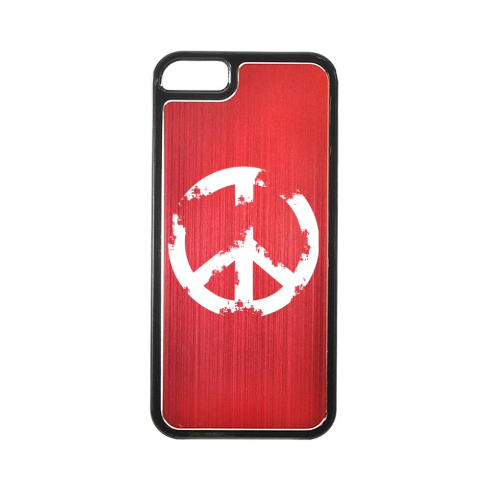 Apple iPhone 5/5S Hard Back Cover w/ Red Aluminum Back - Grunge Peace Sign