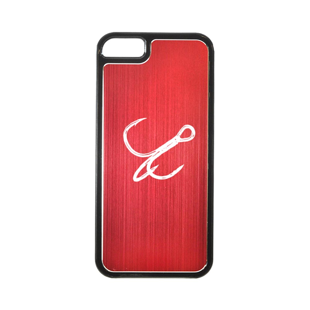 Apple iPhone 5/5S Hard Back Cover w/ Red Aluminum Back - Fish Hook