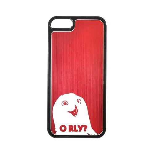 Apple iPhone 5/5S Hard Back Cover w/ Red Aluminum Back - O RLY?