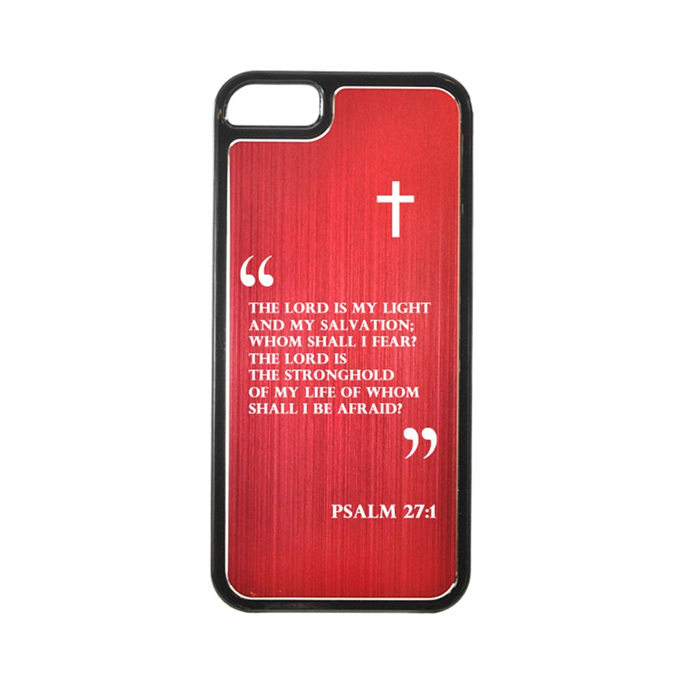 Apple iPhone 5/5S Hard Back Cover w/ Red Aluminum Back - Psalm 27:1