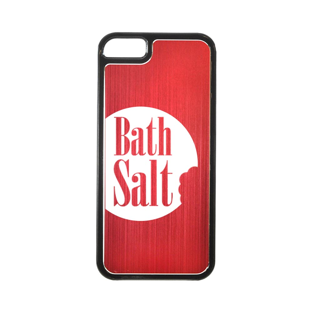 Apple iPhone 5/5S Hard Back Cover w/ Red Aluminum Back - Bath Salt Bite