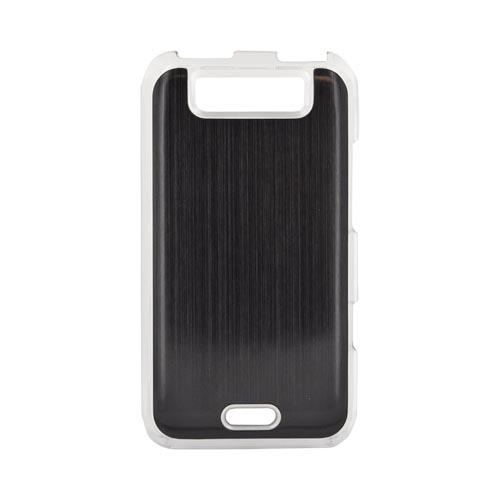 LG Viper 4G LTE/ LG Connect 4G Hard Back Clear Case w/ Aluminum - Black