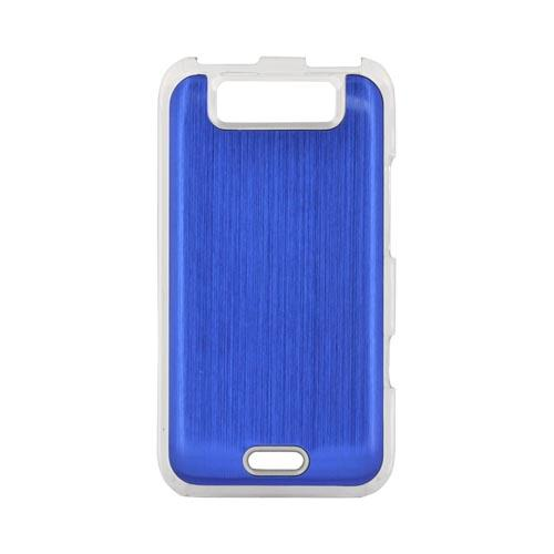 LG Viper 4G LTE/ LG Connect 4G Hard Back Clear Case w/ Aluminum - Blue