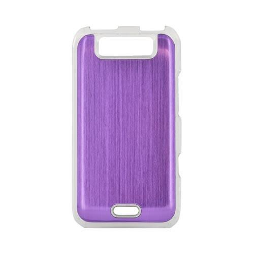 LG Viper 4G LTE/ LG Connect 4G Hard Back Clear Case w/ Aluminum - Purple